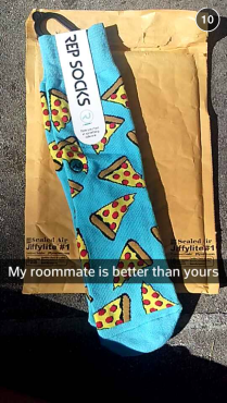 Wednesday, 6pm: Roomie gets the pizza socks I sent her...