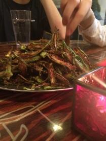 "Julienned ""okra fries"" tossed with lime, salt & seasoning."